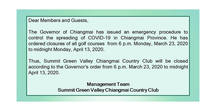 The Governor of Chiangmai has issued an emergency procedure to control the spreading of COVID-19 in Chiangmai Province.